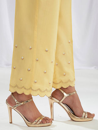 Yellow Scalloped Cotton Satin Palazzos with Embroidery