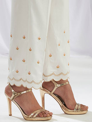 Ivory Scalloped Cotton Satin Palazzos with Embroidery