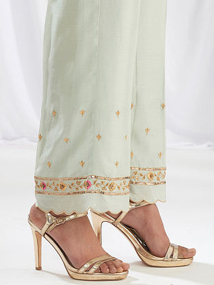 Pastel Green Scalloped Silk Chanderi Palazzos with Embroidery
