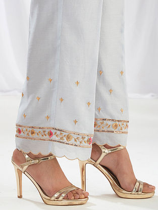 Light Grey Scalloped Silk Chanderi Palazzos with Embroidery