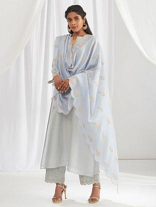 Light Blue Scalloped Chanderi Dupatta with Zari Motifs