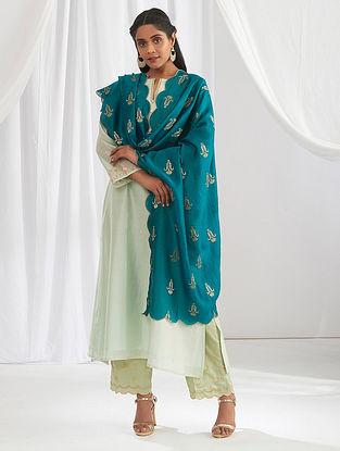 Deep Green Scalloped Chanderi Dupatta with Zari Motifs