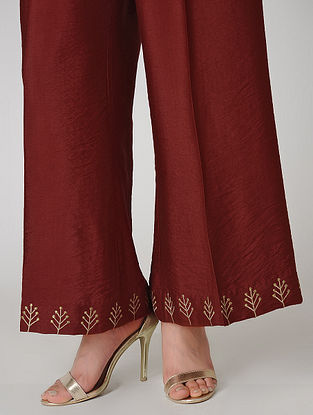 Maroon Elasticated Waist Cotton Silk Palazzos with Embroidered Hem