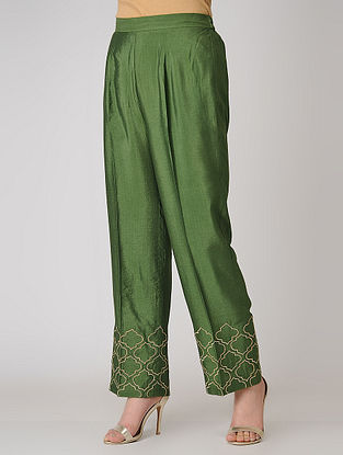 Olive Elasticated Waist Cotton Silk Pants with Embroidered Hem