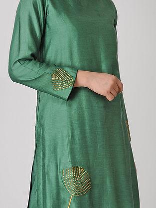 Green Embroidered Chanderi Kurta