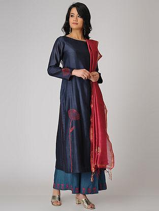 Blue Embroidered Chanderi Kurta