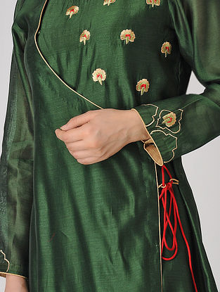 Green Embroidered Chanderi Angrakha Kurta
