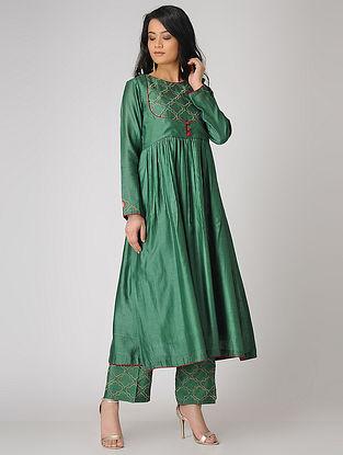 Green Embroidered Chanderi Anarkali Kurta
