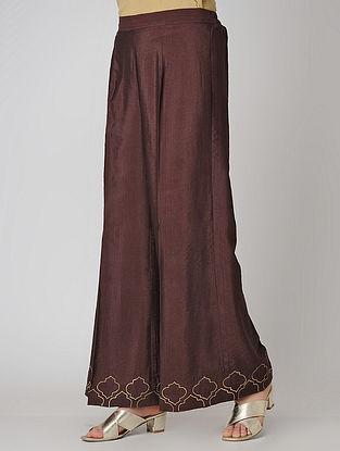 Wine Elasticated Waist Cotton Silk Palazzos with Embroidered Hem