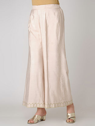 Pink Elasticated Waist Cotton Silk Palazzos with Embroidered Hem