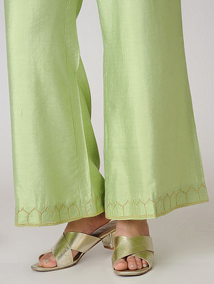 Green Elasticated Waist Cotton Silk Palazzos with Embroidered Hem