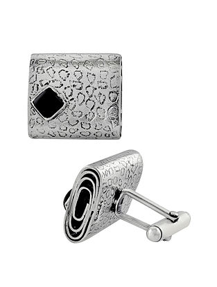 Handcrafted Silver Cufflinks with Black Onyx