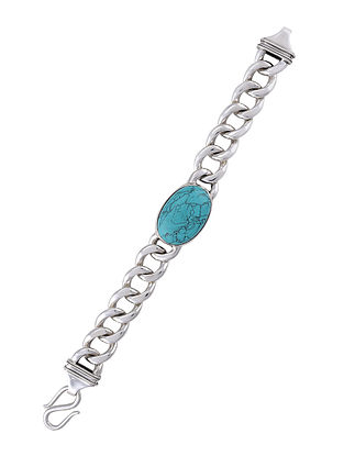 Handcrafted Silver Bracelet with Turquoise