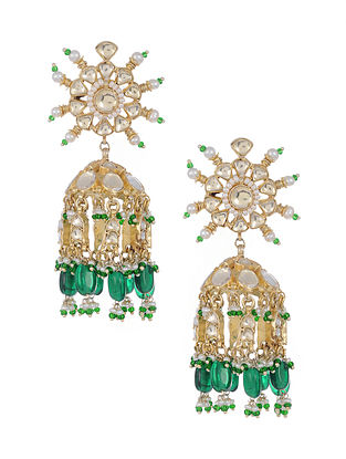 Green Gold Plated Glass Silver Jhumki Earrings with Pearls
