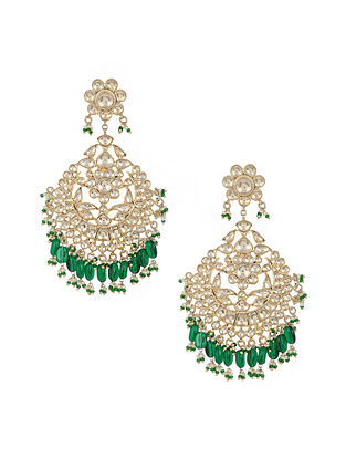Green Gold Plated Glass Silver Earrings with Pearls