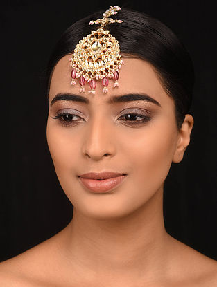 Pink Gold Plated Silver Maangtikka with Pearls