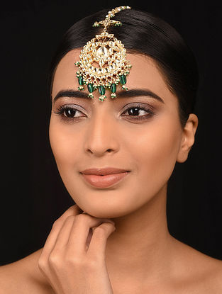 Green Gold Plated Silver Maangtikka with Pearls