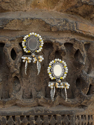 Yellow-White Dual Tone Brass Earrings with Mirror and Pearls