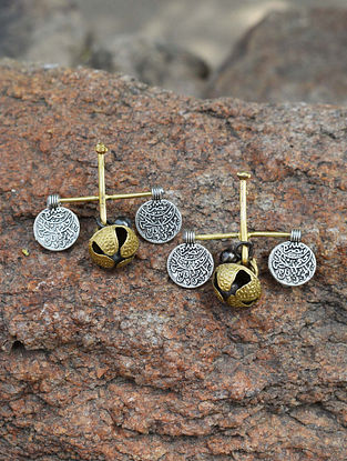Dual Tone Brass Earrings with Ghungroo
