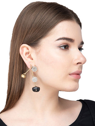 Black Dual Tone Brass Earrings with Ghungroo