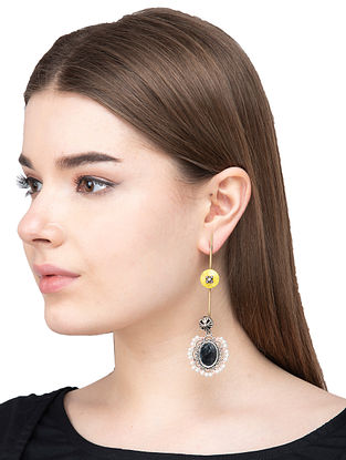 Yellow Dual Tone Brass Earrings with Mirror and Pearls