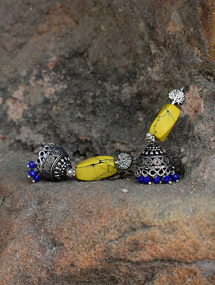 Yellow-Blue Silver Tone Brass Jhumkis