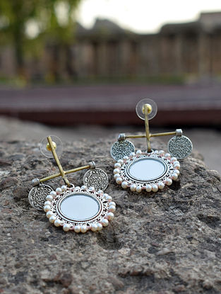 Dual Tone Brass Earrings with Mirror and Pearls