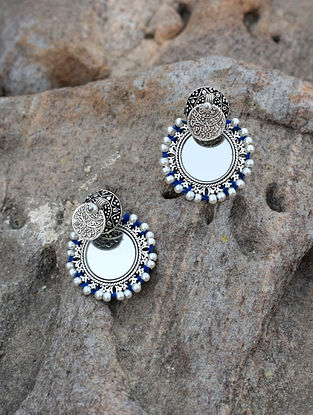 Silver Tone Brass Earrings with Mirror and Pearls
