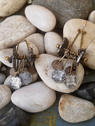 Vintage Dual Tone Earrings with Coins