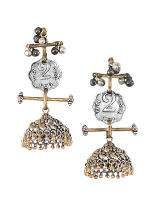 Vintage Dual Tone Jhumki Earrings with Coins