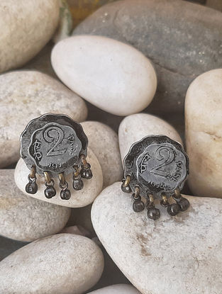 Vintage Dual Tone Stud Earrings with Coins
