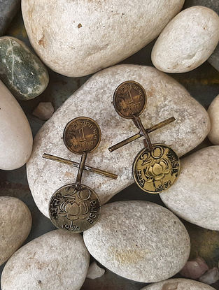 Vintage Gold Tone Earrings with Coins