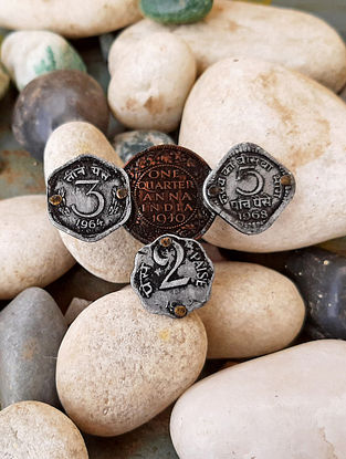 Vintage Dual Tone Adjustable Ring with Coins
