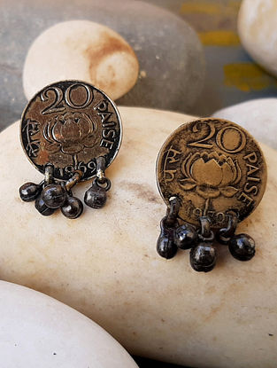 Vintage Gold Tone Stud Earrings with Coins
