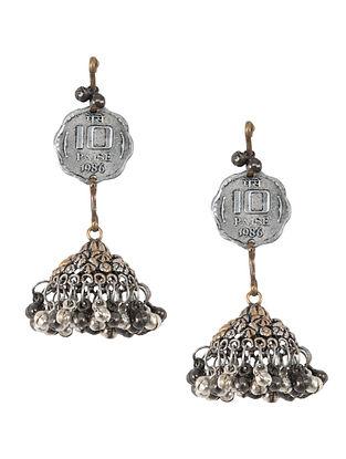 Vintage Dual Tone Jhumki Earrings with Coins