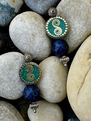 Blue Green Silver Tone Earrings
