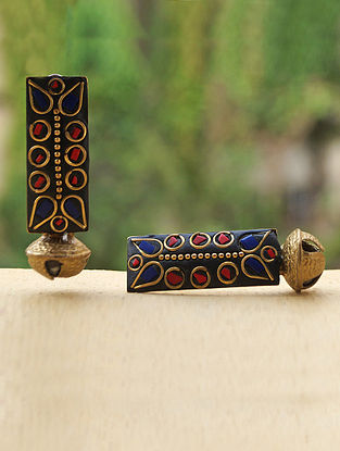 Red Blue Gold Tone Earrings