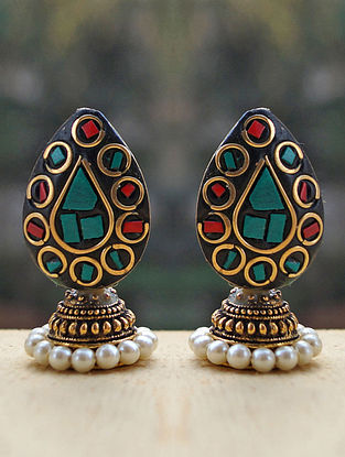 Red Turquoise Gold Tone Jhumki Earrings with Pearls
