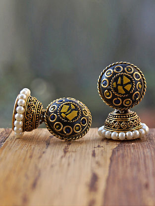 Yellow Blue Gold Tone Jhumki Earrings with Pearls