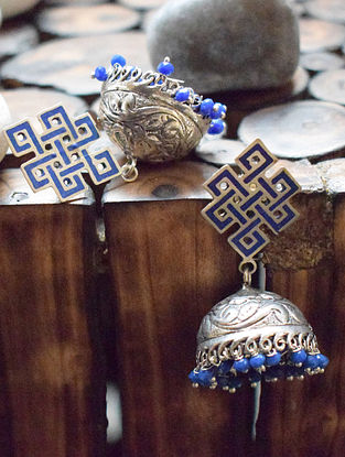 Blue Silver Tone Jhumki Earrings