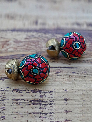 Red Turquoise Gold Tone Earrings
