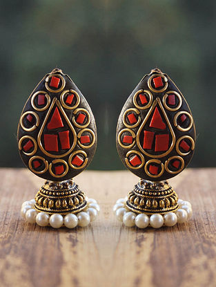 Red Black Gold Tone Jhumki Earrings with Pearls
