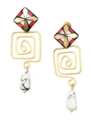 Red White Gold Tone Earrings