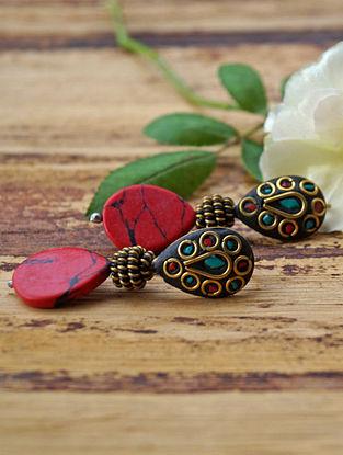 Turquoise Red Gold Tone Earrings