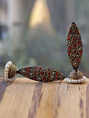 Black Red Gold Tone Jhumki Earrings with Pearls