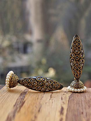 Black White Gold Tone Jhumki Earrings with Pearls
