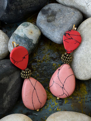 Red Pink Gold Tone Earrings