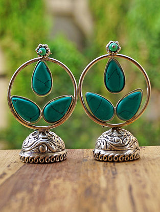 Turquoise Silver Tone Jhumki Earrings