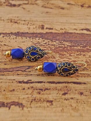Blue Black Gold Tone Earrings