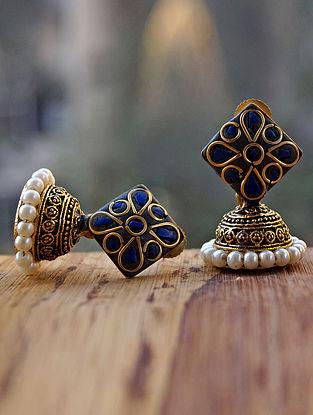 Blue Black Gold Tone Jhumki Earrings with Pearls